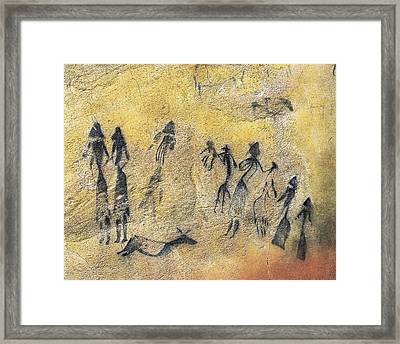 Phallic Dance. Mesolithic Art. Cave Framed Print by Everett