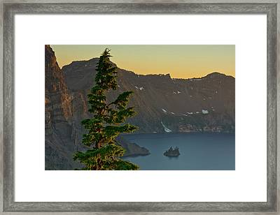 Phantom Ship And Crater Lake At Sunset Framed Print