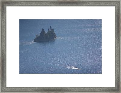 Phantom Ship In Crater Lake In Crater Framed Print by Phil Schermeister