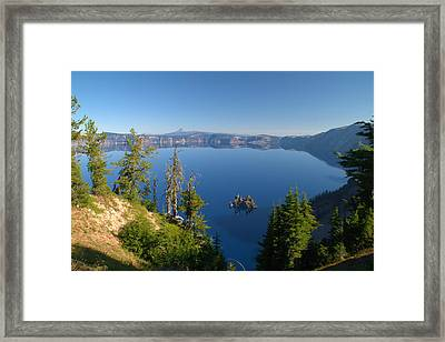 Phantom Ship Island In Crater Lake Framed Print by Brian Harig