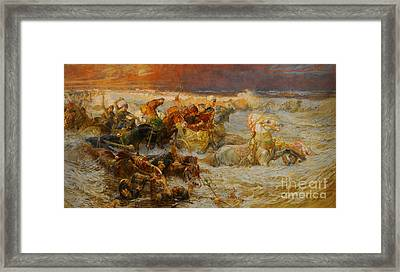 Pharaoh And His Army Engulfed By The Red Sea Framed Print