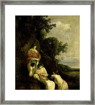 Pharaohs Daughter Finds Moses In The Bulrushes Framed Print