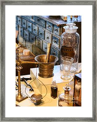 Pharmacist - Brass Mortar And Pestle Framed Print by Paul Ward