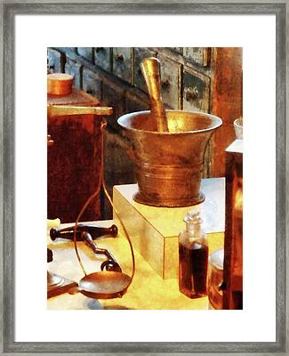 Framed Print featuring the photograph Pharmacist - Brass Mortar And Pestle by Susan Savad