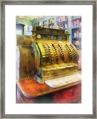 Pharmacist - Cash Register In Pharmacy Framed Print by Susan Savad