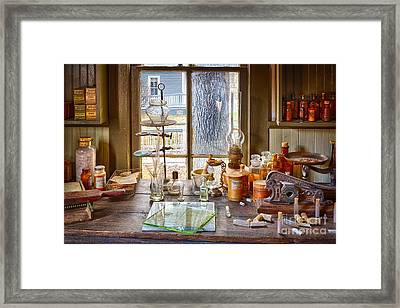 Pharmacist Desk Framed Print