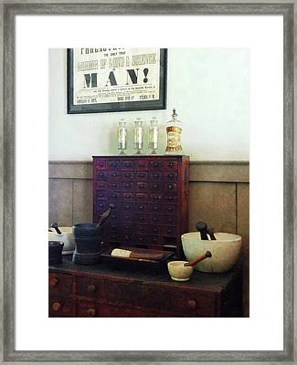 Pharmacist - Desk With Mortar And Pestles Framed Print by Susan Savad