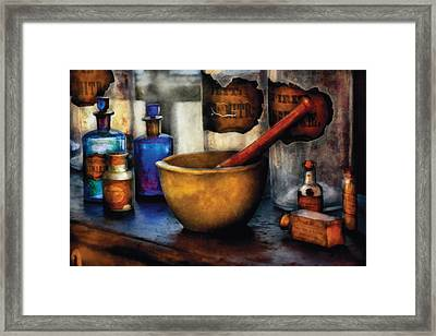 Pharmacist - Mortar And Pestle Framed Print by Mike Savad
