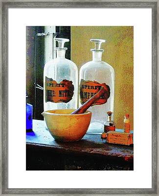 Pharmacist - Mortar And Pestle With Bottles Framed Print