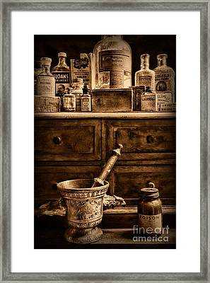 Pharmacist  Old Medicine In Black And White Framed Print by Paul Ward