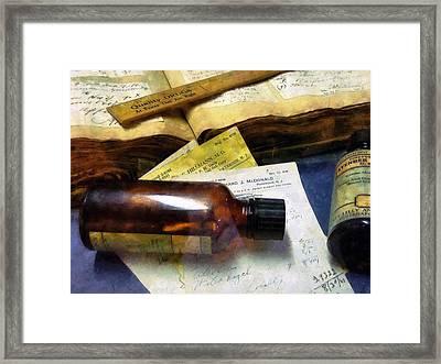 Pharmacist - Prescriptions And Medicine Bottles Framed Print by Susan Savad