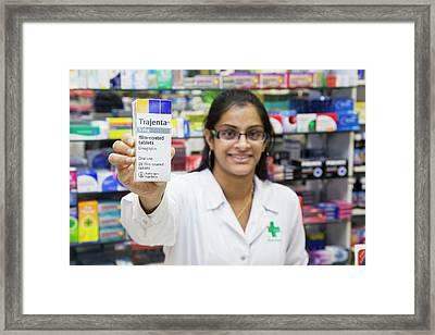 Pharmacist With Diabetes Drug Framed Print