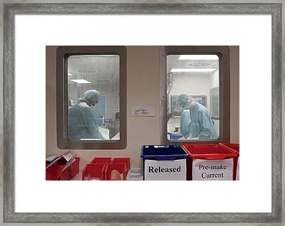 Pharmacists Preparing Chemotherapy Drugs Framed Print