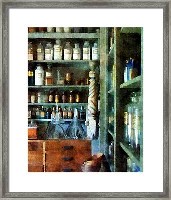 Framed Print featuring the photograph Pharmacy - Back Room Of Drug Store by Susan Savad