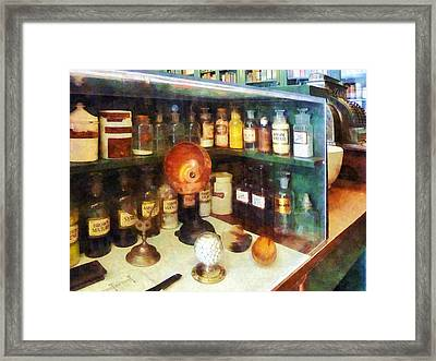 Pharmacy - Behind The Counter At The Drugstore Framed Print