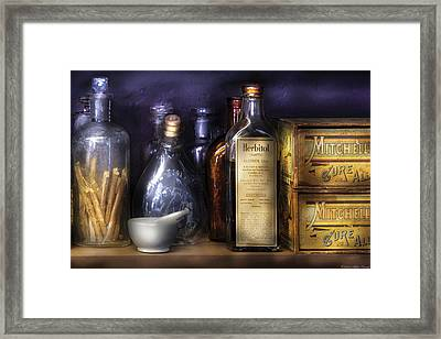Pharmacy - Constipated  Framed Print by Mike Savad
