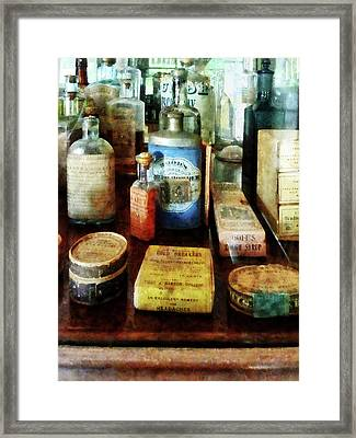 Pharmacy - Cough Remedies And Tooth Powder Framed Print by Susan Savad