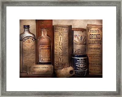 Pharmacy - Cures For The Bowels Framed Print