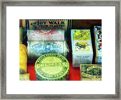 Pharmacy - For Aches And Pains Framed Print by Susan Savad