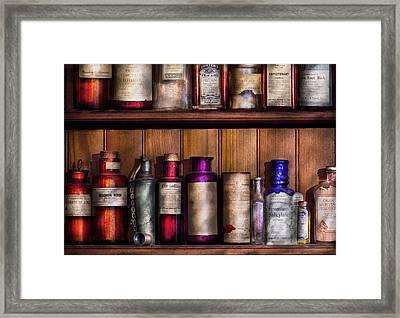 Pharmacy - Ingredients Of Medicine  Framed Print by Mike Savad