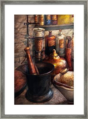 Pharmacy - Pestle - Pharmacology Framed Print