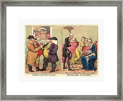 Pharoahs Fat Kine, Pharoahs Lean Kine, Cruikshank, Isaac Framed Print by Egyptian School