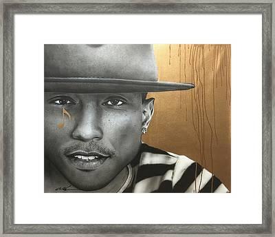 Pharrell Williams - ' Pharrell In Gold ' Framed Print by Christian Chapman Art