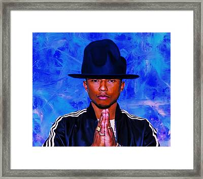 Pharrell Williams Peace On Earth Framed Print by Brian Reaves