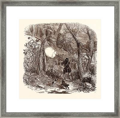 Pheasant Shooting In October,  Shotgun, Hunting, Wild Framed Print by English School