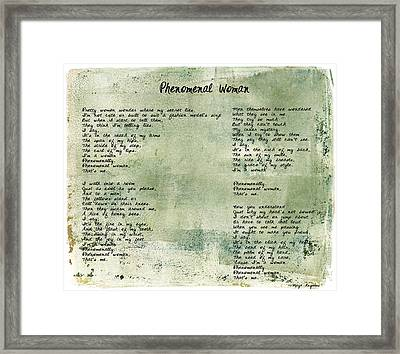 Phenomenal Woman - Green Rustic Framed Print by Paulette B Wright