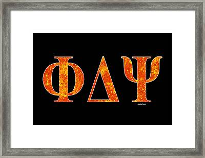 Framed Print featuring the digital art Phi Delta Psi - Black by Stephen Younts