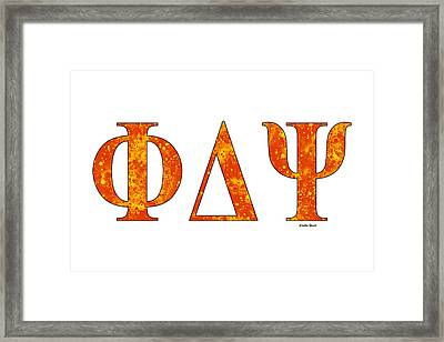 Framed Print featuring the digital art Phi Delta Psi - White by Stephen Younts