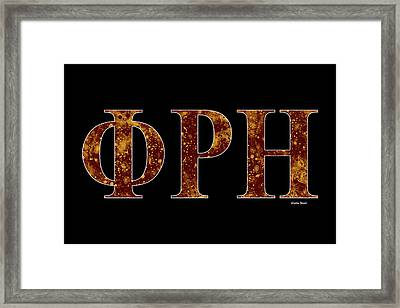 Framed Print featuring the digital art Phi Rho Eta - Black by Stephen Younts