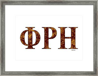 Framed Print featuring the digital art Phi Rho Eta - White by Stephen Younts