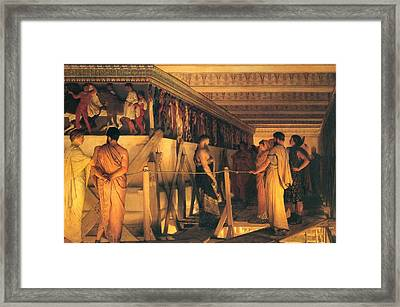 Phidias Showing The Frieze Of The Parthenon To His Friends Framed Print by Lawrence Alma-Tadema