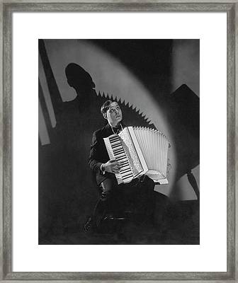 Phil Baker With An Accordion Framed Print