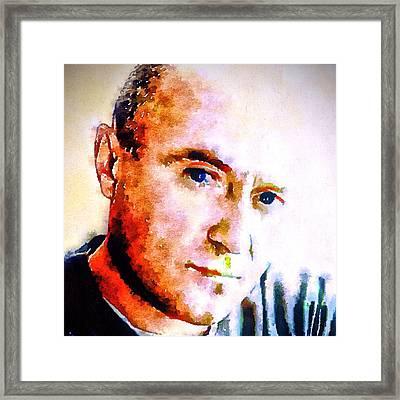 Phil Collins Digital Watercolor Portrait 2 Framed Print