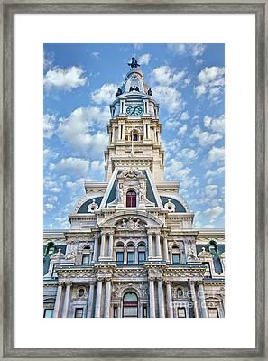 Phila City Hall Clock Tower  Framed Print by David Zanzinger