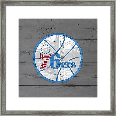Philadelphia 76ers Basketball Team Retro Logo Vintage Recycled Pennsylvania License Plate Art Framed Print by Design Turnpike
