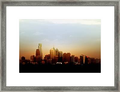 Philadelphia At Dusk Framed Print by Bill Cannon