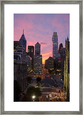 Philadelphia City Center At Sunset Framed Print by Perry Van Munster