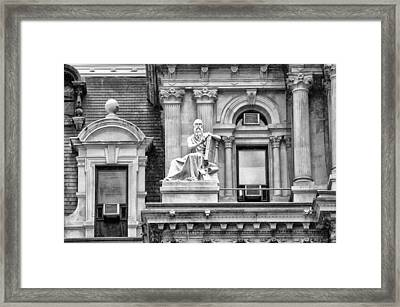 Philadelphia City Hall - Air Conditioners And Artwork - Black An Framed Print by Bill Cannon