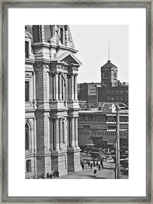Philadelphia City Hall And Wanamaker Store C 1900 Vintage Photog Framed Print