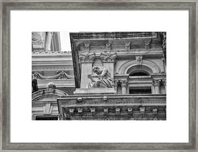 Philadelphia City Hall - Artwork - Black And White Framed Print by Bill Cannon