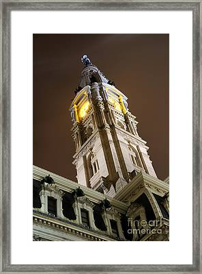 Philadelphia City Hall Clock Tower At Night Framed Print