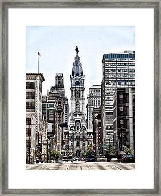 Philadelphia City Hall From North Broad Street Framed Print by Bill Cannon