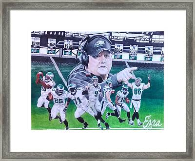 Philadelphia Eagles Chip Kelly Mural Framed Print by Ezra Strayer
