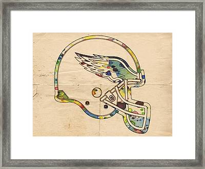 Philadelphia Eagles Helmet Vintage Framed Print