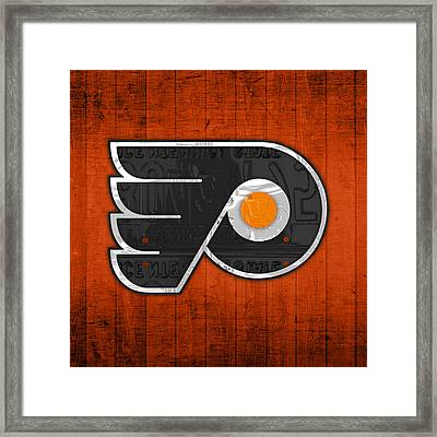 Philadelphia Flyers Hockey Team Retro Logo Vintage Recycled Pennsylvania License Plate Art Framed Print by Design Turnpike