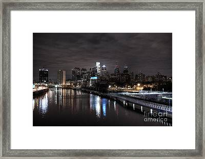 Philadelphia Lights In The Dark Framed Print by Mark Ayzenberg